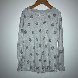 Lucky Brand Ripped Polka Dot Grey Sweatshirt Small